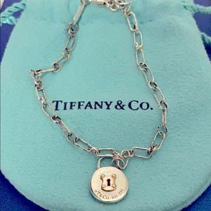 Tiffany & Co. 18k Gold & Silver Pad Lock Bracelet